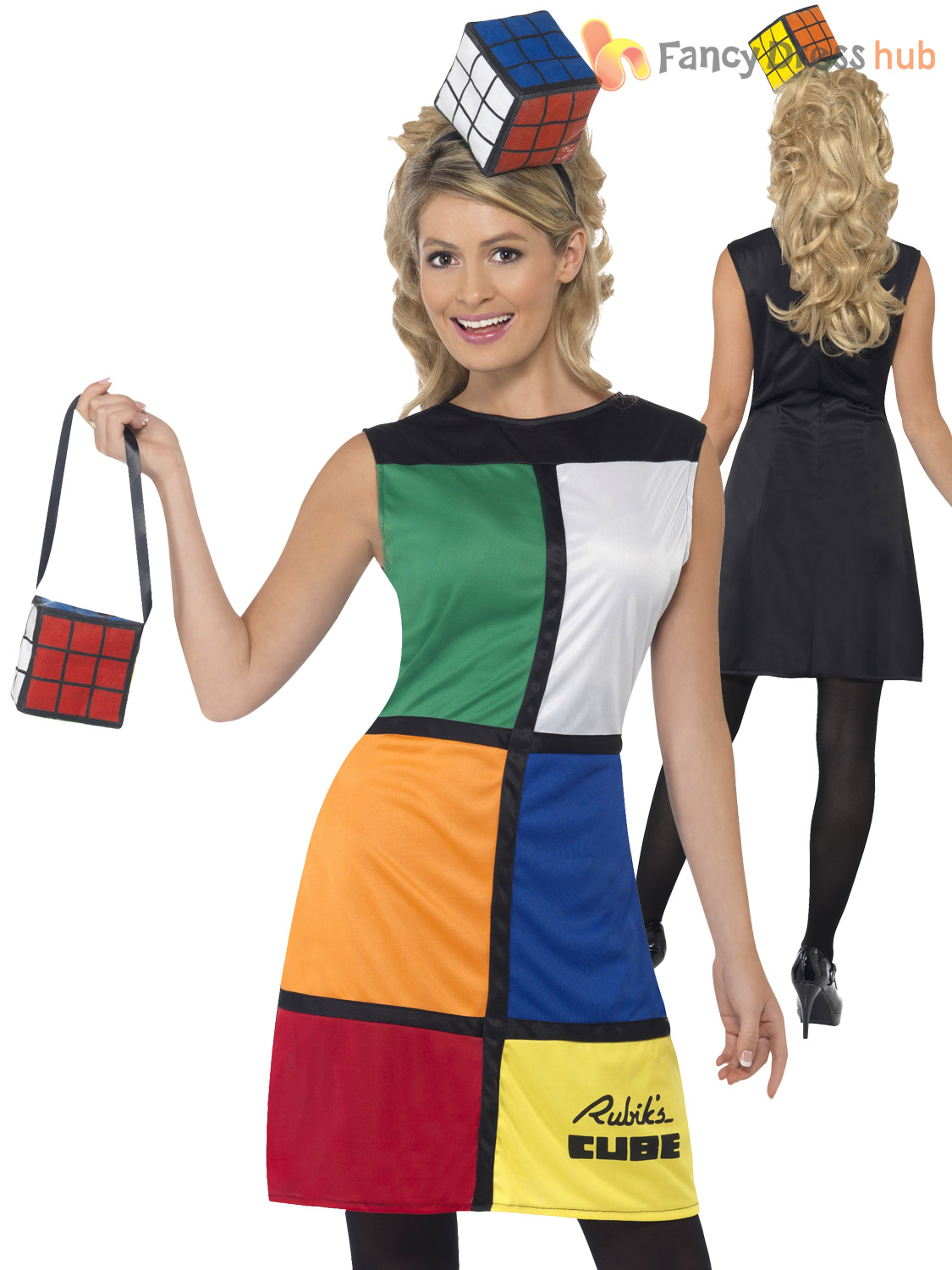 ladies 80s rubiks cube costume adults retro fancy dress