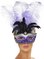 Ladies Venetian Mask with Plume