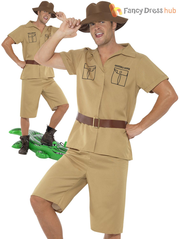 Adults Safari Man Costume Mens Explorer Fancy Dress ...