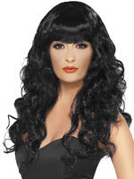 Ladies Black Long Curly Siren Wig