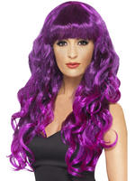 Ladies Purple Long Curly Siren Wig
