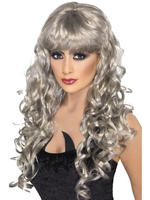 Ladies Grey Long Curly Siren Wig