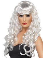 Ladies White Long Curly Siren Wig