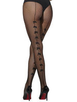 Ladies Fishnet Tights with Bow