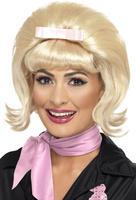 Ladies Blonde 50's Flicked Beehive Bob