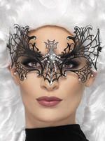 Ladies Black Widow Metal Filigree Mask