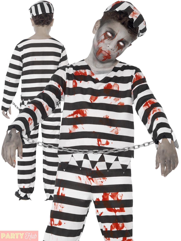 Boys Zombie Convict Costume Prisoner Halloween Fancy Dress Kids Haloween Childs