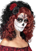 Ladies Day of the Dead Black & Red Wig