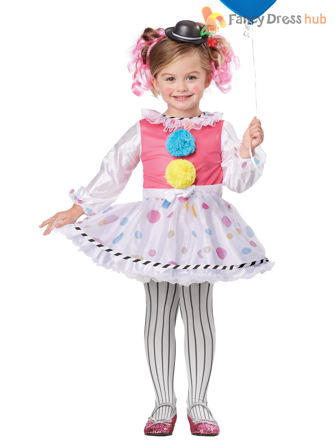 Age 3 6 Girls Deluxe Clown Costume Circus Child Kids