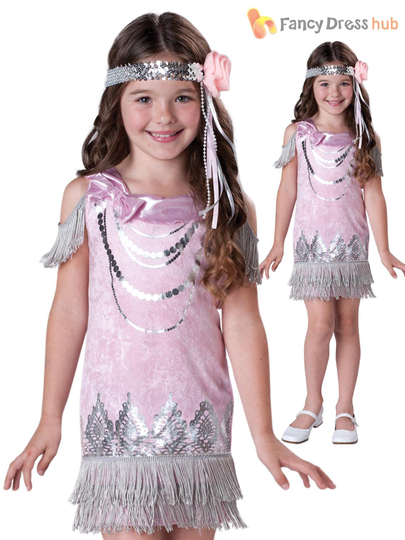 Girls Flapper Costume 1920s Charleston Fancy Dress Kids ...
