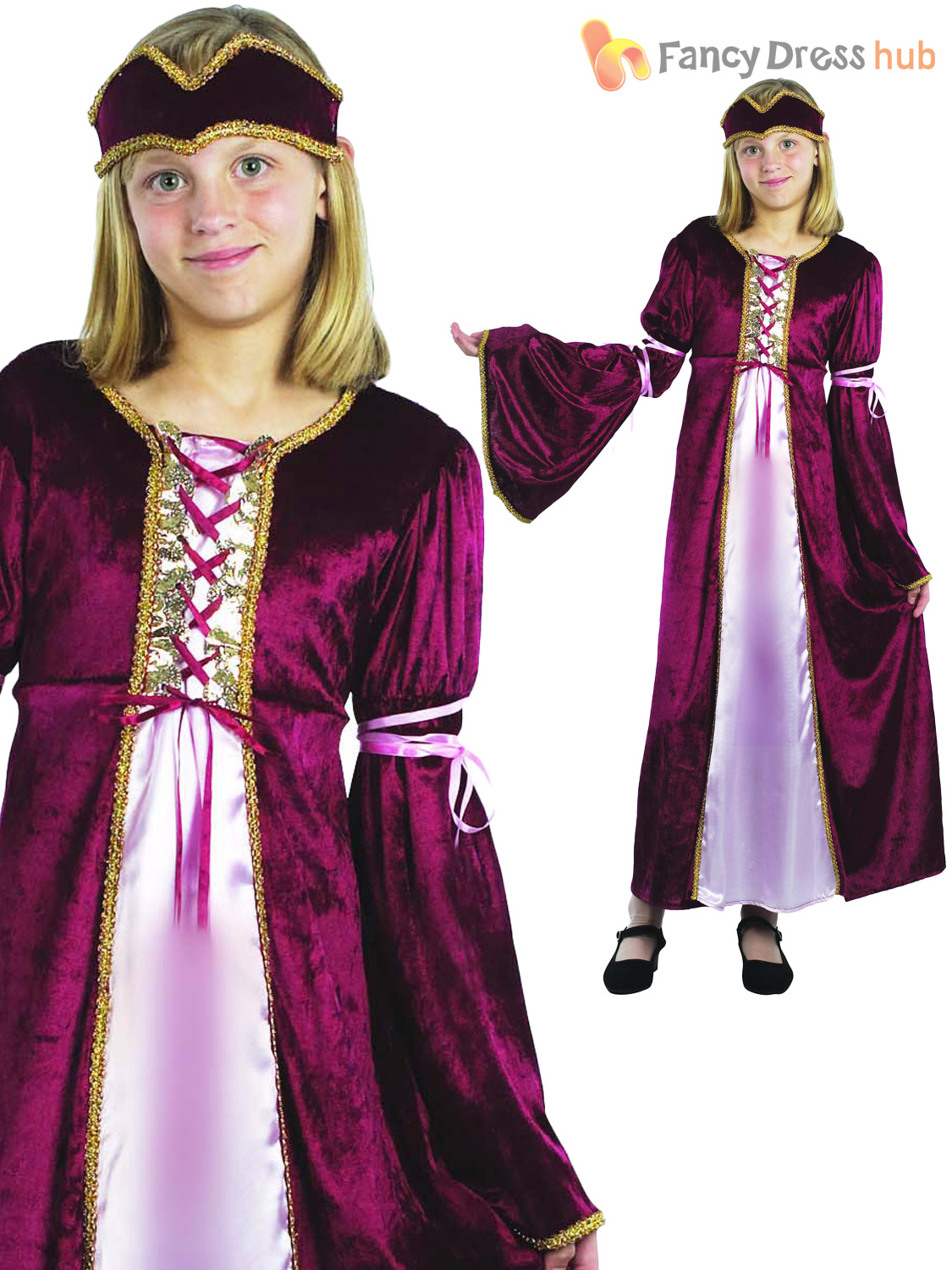 Age 4-14 Girls Medieval Royal Queen Tudor Costume Kids ...