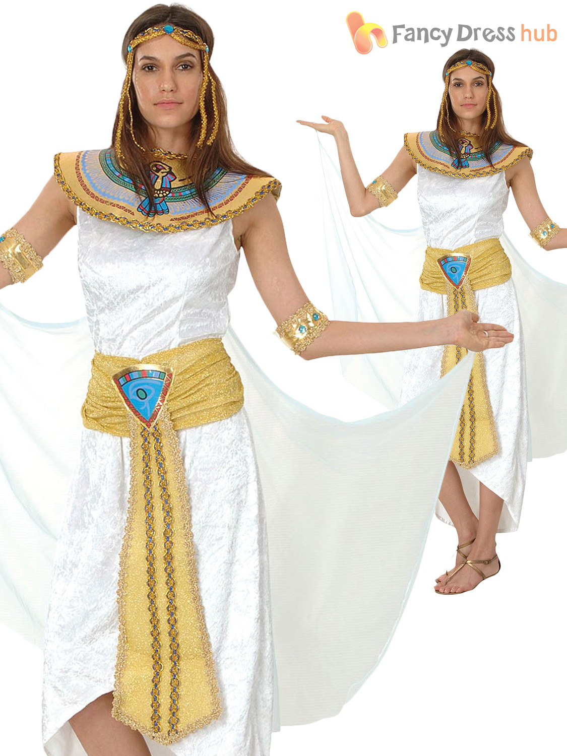 Adult-Ladies-Egyptian-Queen-Cleopatra-Ancient-Egypt-Costume-  sc 1 st  eBay & Adult Ladies Egyptian Queen Cleopatra Ancient Egypt Costume Womens ...