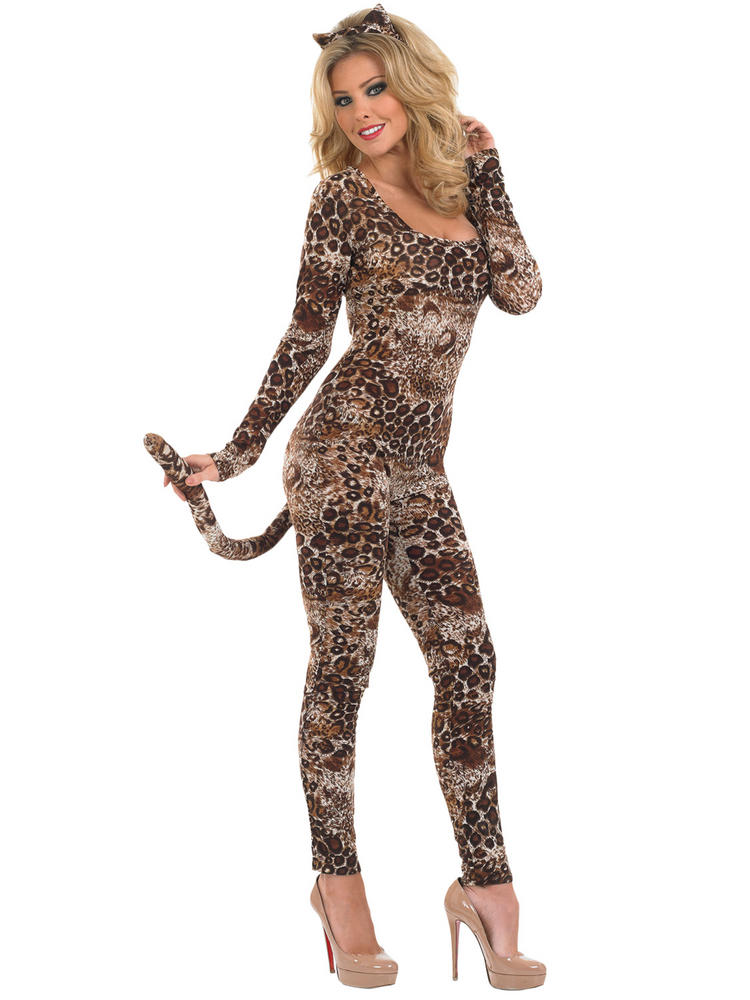 Ladies Leopard Cougar Catsuit