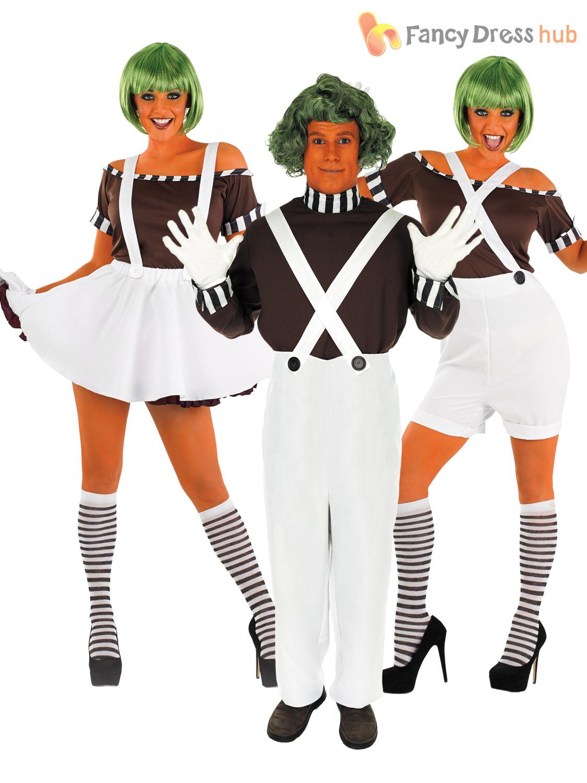 Adults Mens Ladies Umpa Loompa + Wig Oompa Factory Book Week Fancy ...