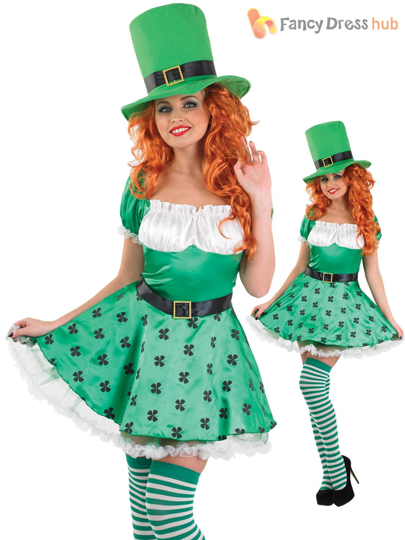 Ladies Lucky Leprechaun Sexy Irish St Patricks Paddys Day Fancy Dress Costume