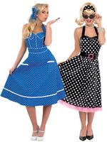 Ladies Rock N Roll 1950s Blue Dress
