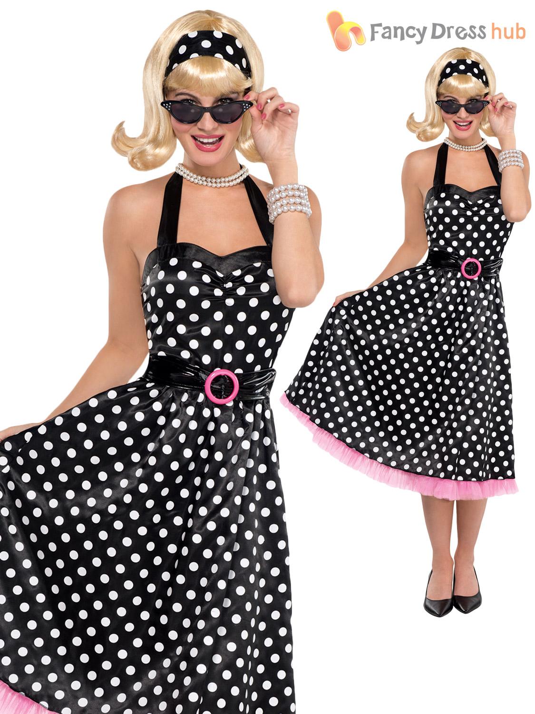 ladies rock n roll 1950s fancy dress costume day tea polka. Black Bedroom Furniture Sets. Home Design Ideas