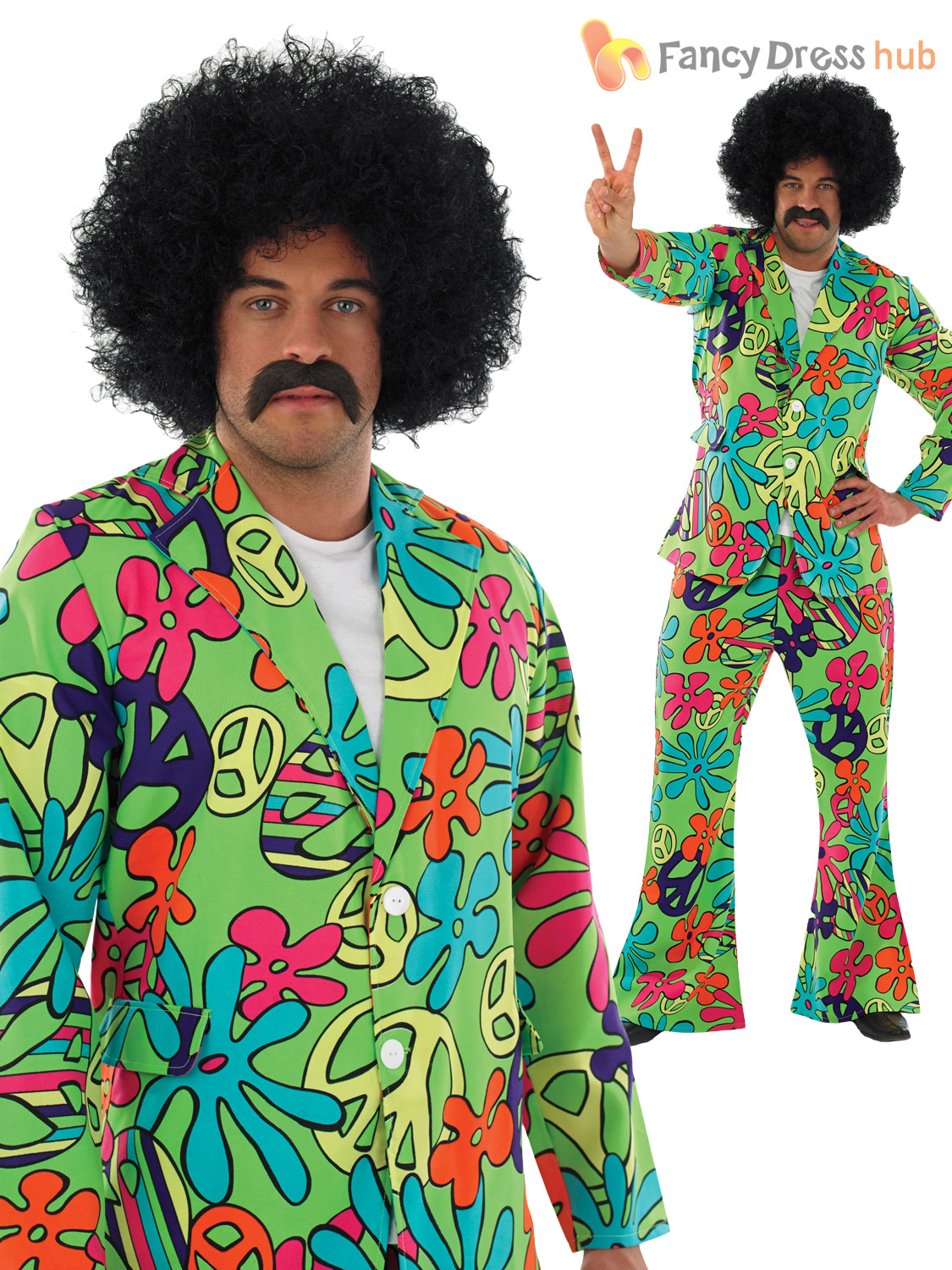 mens adult 60s 70s hippie hippy psychedelic suit fancy dress costume with flares. Black Bedroom Furniture Sets. Home Design Ideas