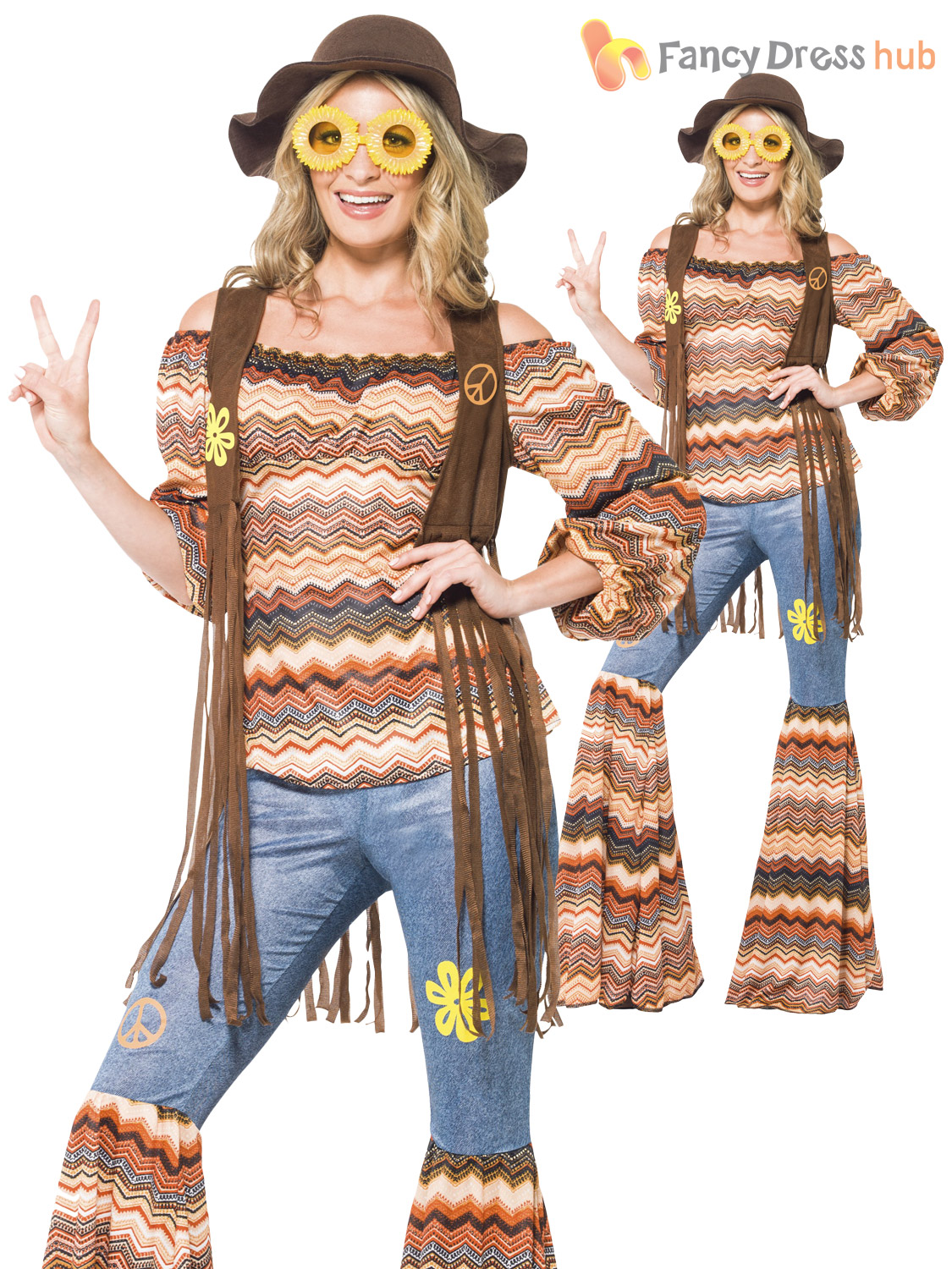 Ladies Hippy Fancy Dress Costume Womens 70s Flower Power ...