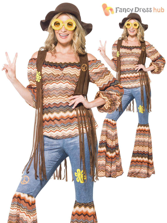 hippy fancy dress costume womens 70s flower power