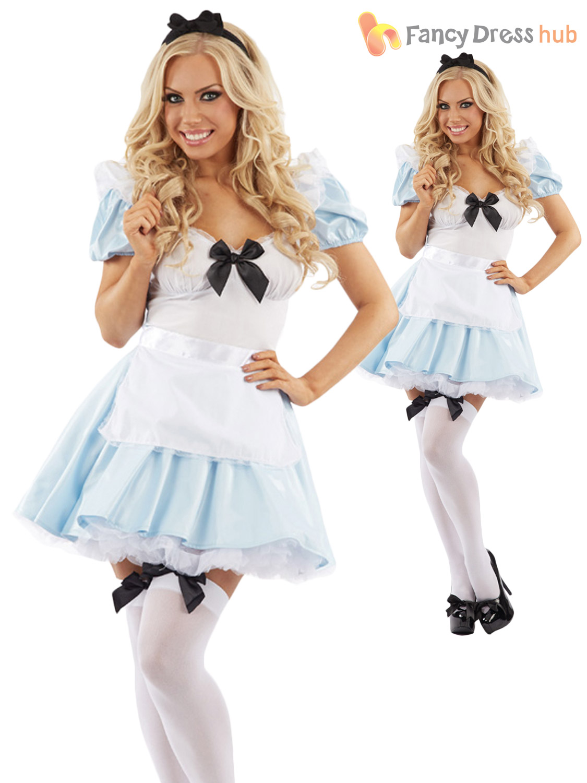 Adult Alice in Wonderland Fancy Dress Ladies Sexy Fairytale Storybook Costume