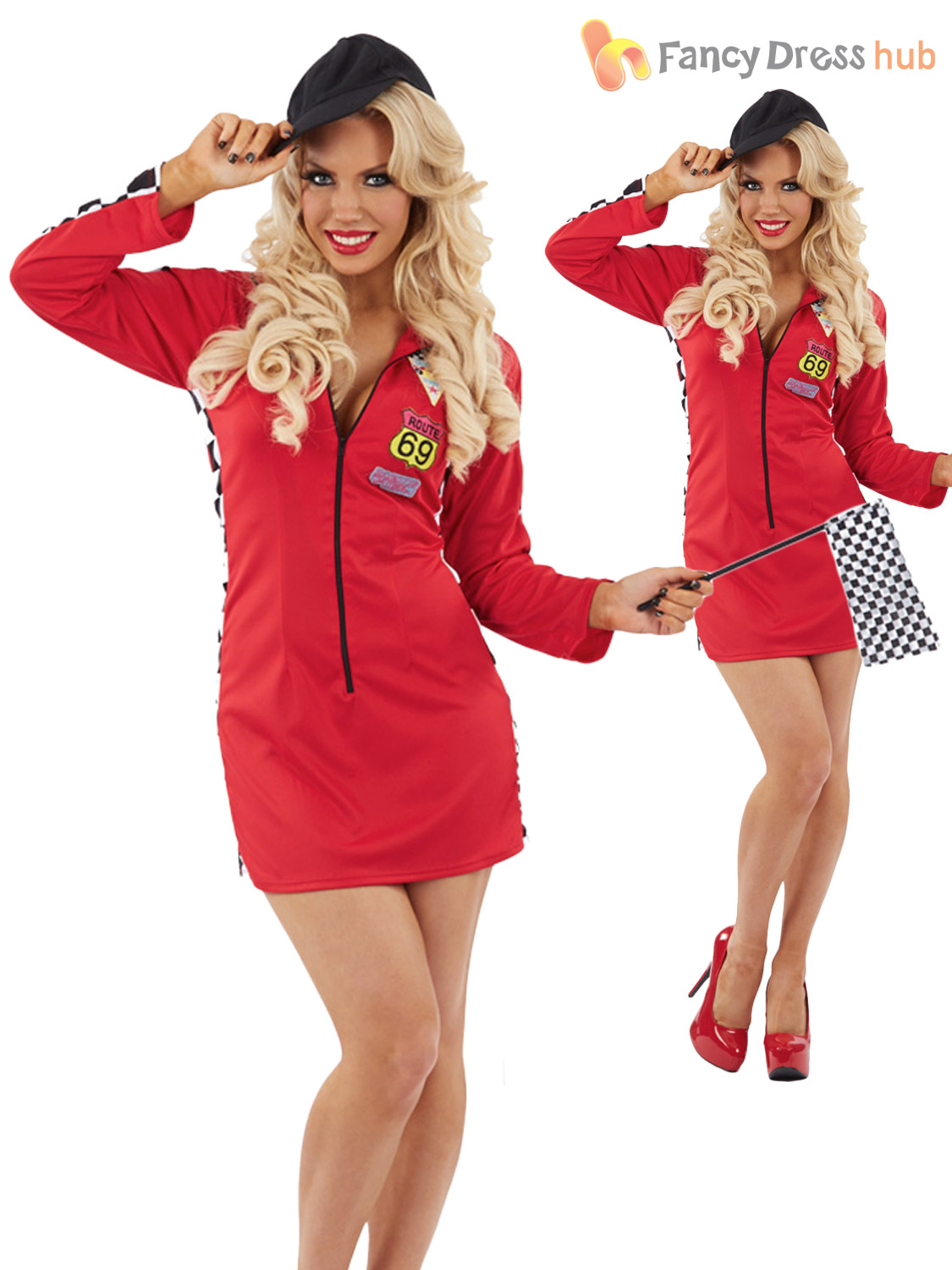 ladies sexy racing flag girl start line outfit grand prix f1 fancy dress costume ebay. Black Bedroom Furniture Sets. Home Design Ideas