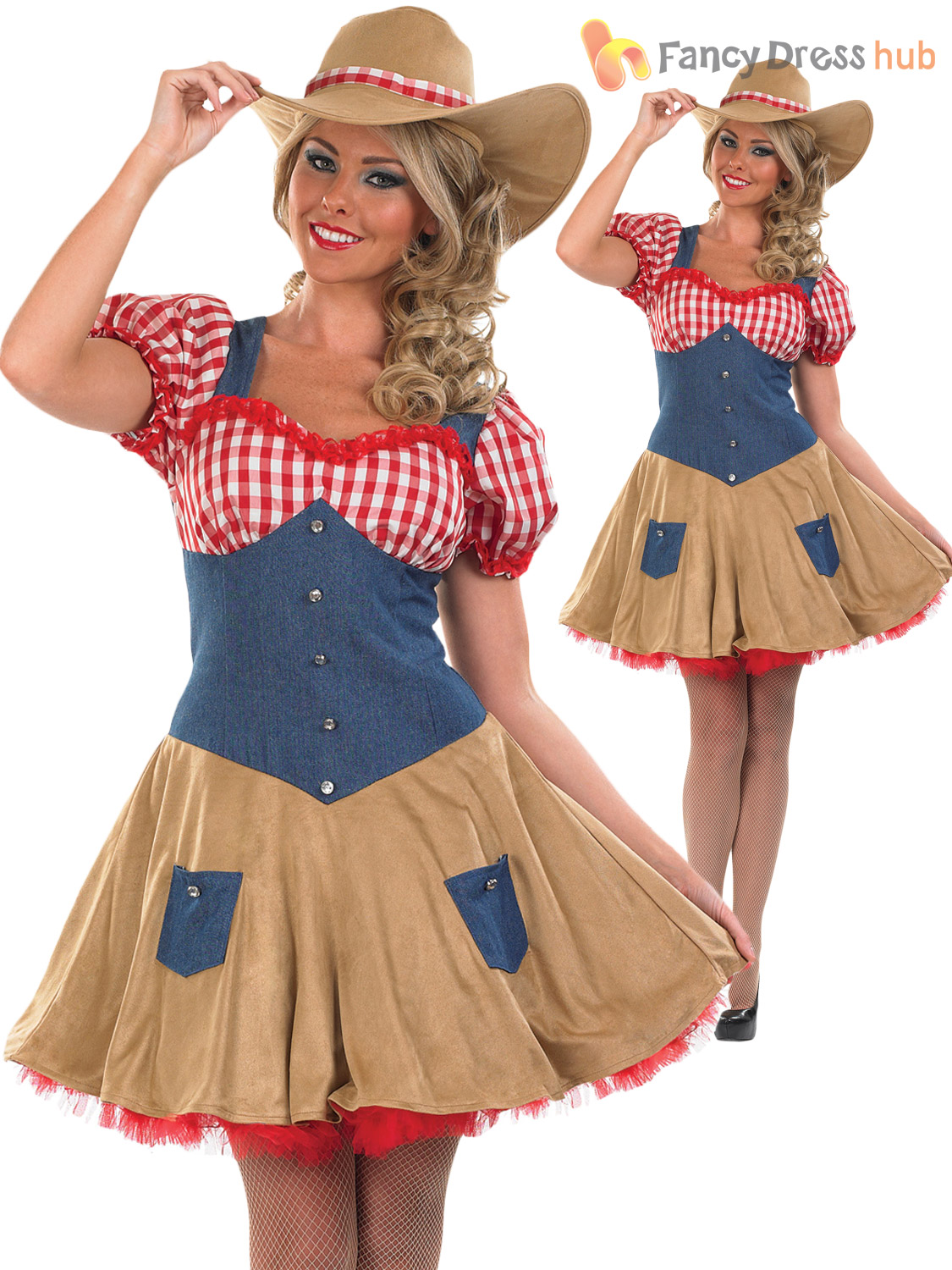 Cowgirl Costume Ladies Womens Fancy Dress Wild West Cowboy Outfit UK 8 - 18 | eBay