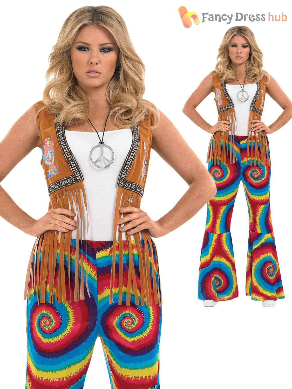 Ladies Womens 60s 70s Hippy Flower Power Bell Bottom ...