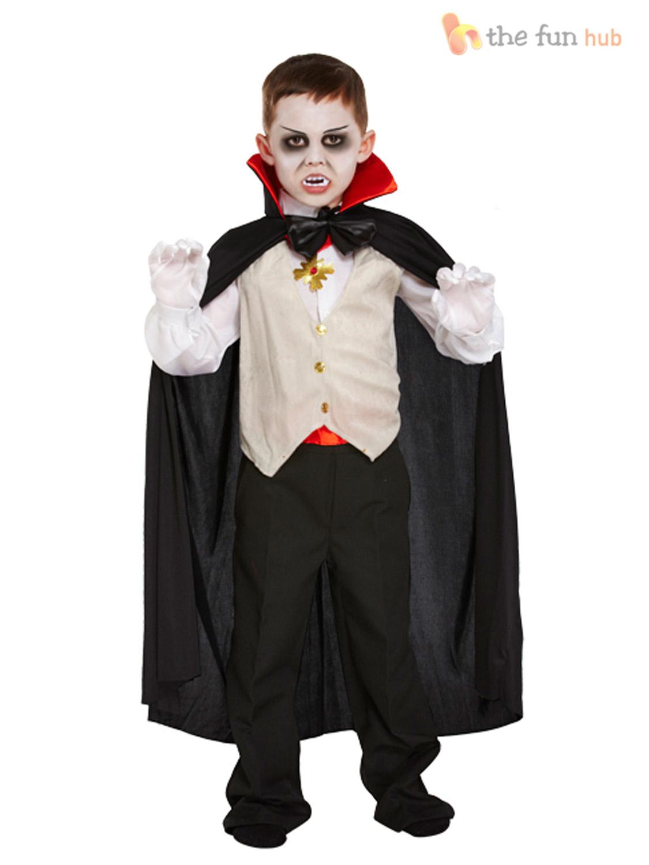 Boys Vampire Costume Kids Halloween Dracula Fancy Dress Outfit ...