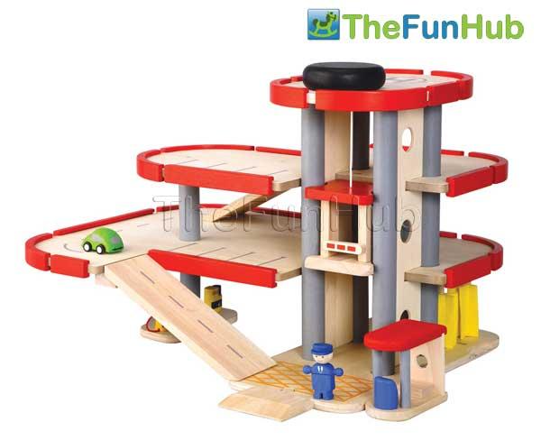 Plan Toys Wooden City Parking Car Garage Toy For Children