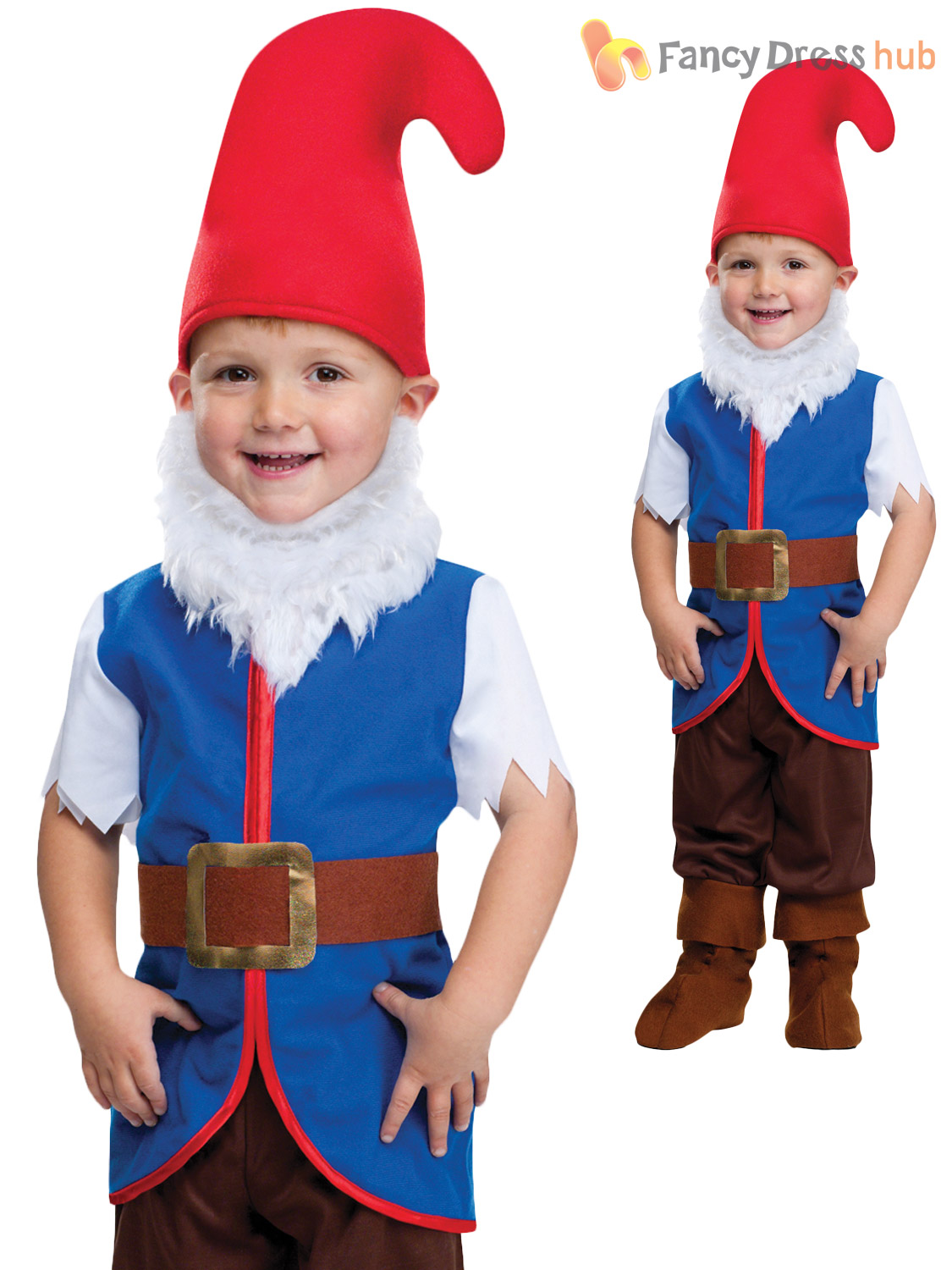 Kids-Garden-Gnome-Fancy-Dress-Costume-Dwarf-Fairytale-Book-Boys-Toddler-Age-3-4