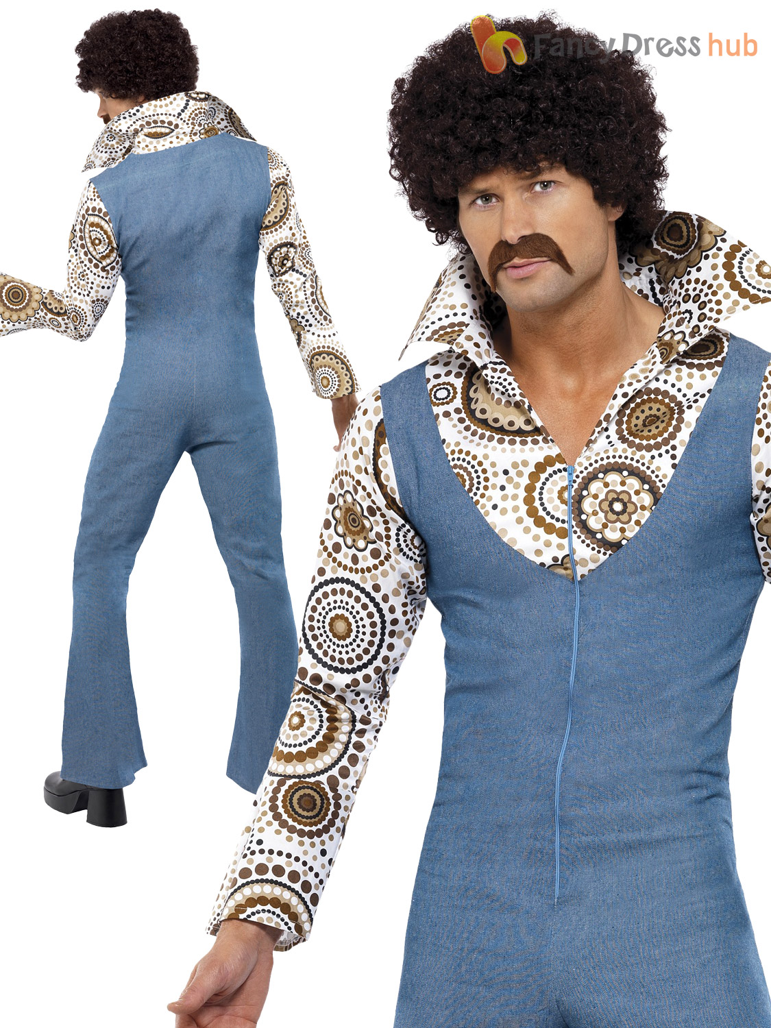 Mens Groovy Hippy Hippie Disco Costume Adult 60s 70s 1970s Fancy Dress Outfit Ebay
