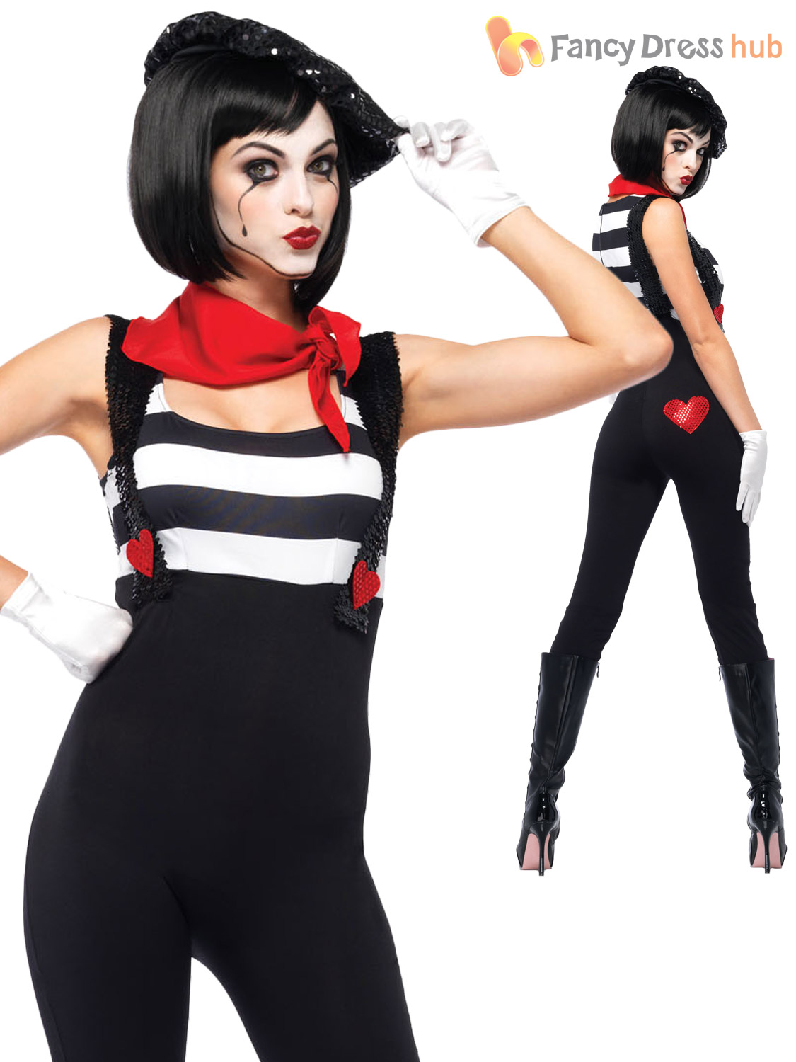 Ladies leg avenue sexy mime artist costume halloween for Disfraces de circo