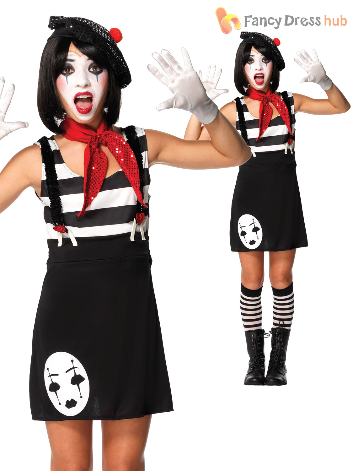Girls-Kids-Mime-Artist-Costume-Black-White-Halloween-  sc 1 st  eBay & Girls Kids Mime Artist Costume Black White Halloween Circus French ...