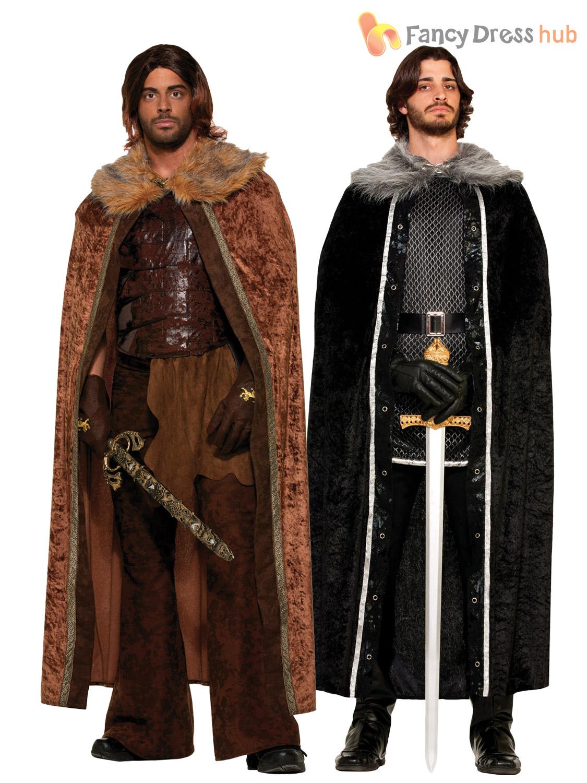Mens Game Of Thrones Fur Trimmed Cloak Jon Snow Medieval
