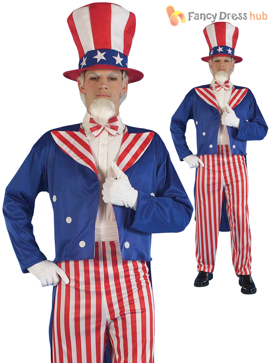 Mens-Uncle-Sam-Fancy-Dress-USA-America-4-  sc 1 st  eBay & Mens Uncle Sam Fancy Dress USA America 4 July Star Stripes Costume ...