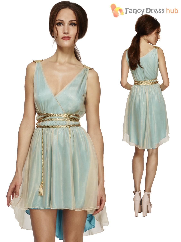 Ladies Fever Greek Roman Grecian Goddess Toga Fancy Dress Costume Womens Outfit