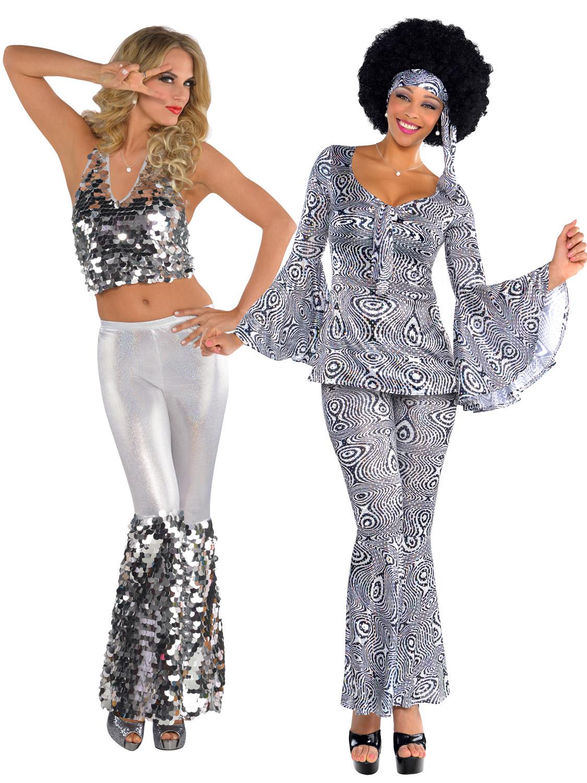 Ladies 1970s Sequinned Disco Dancing Top Flares Fancy