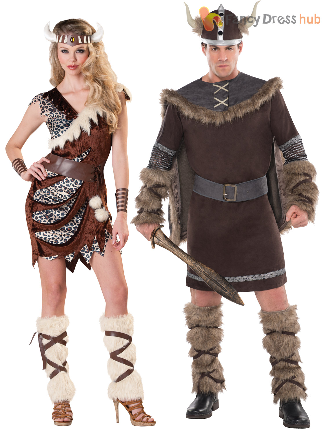 Adults Deluxe Barbarian Viking Costume Mens Warrior Fancy Dress Cavewoman Outfit | eBay