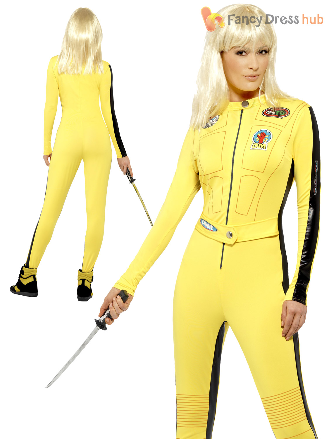 ladies kill bill costume uma thurman fancy dress halloween superhero villian ebay. Black Bedroom Furniture Sets. Home Design Ideas
