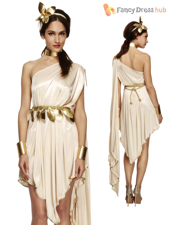 Ladies Fever Greek Roman Grecian Goddess Toga Fancy Dress Costume