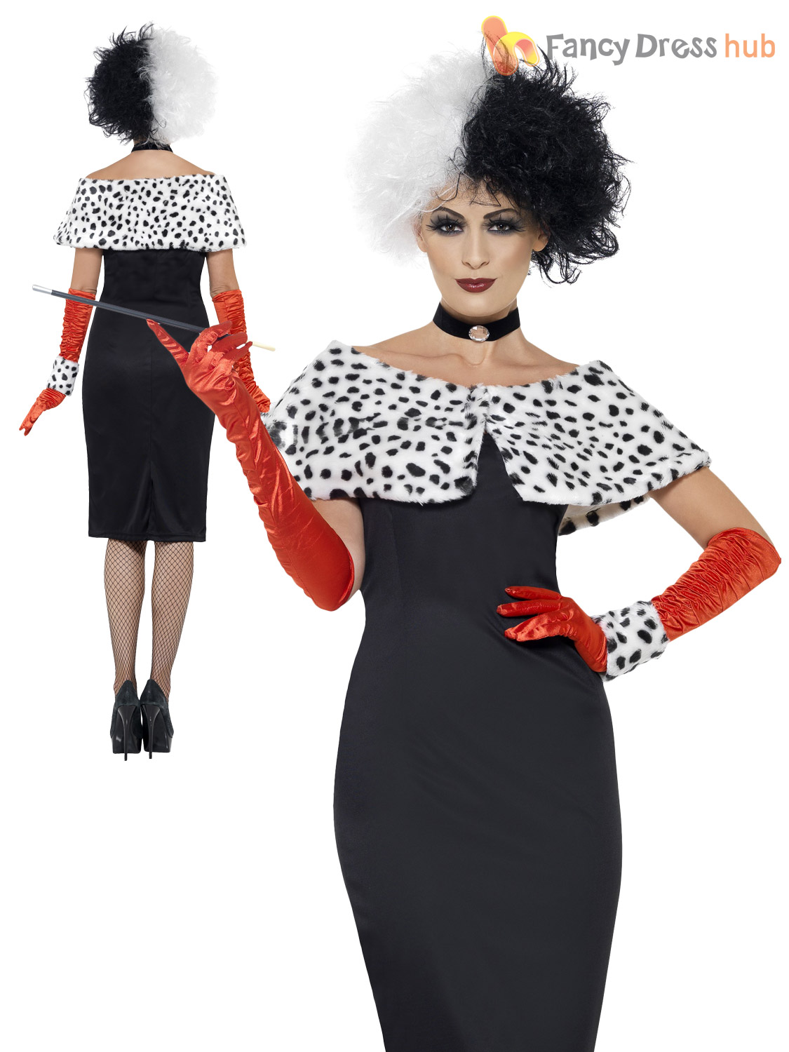 ladies cruella costume black white wig dalmatian ladies fancy dress halloween ebay. Black Bedroom Furniture Sets. Home Design Ideas