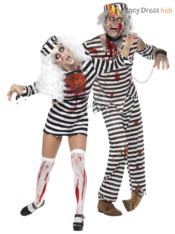 Mens + Ladies Zombie Convict Couples Costume Duo Halloween Fancy ...