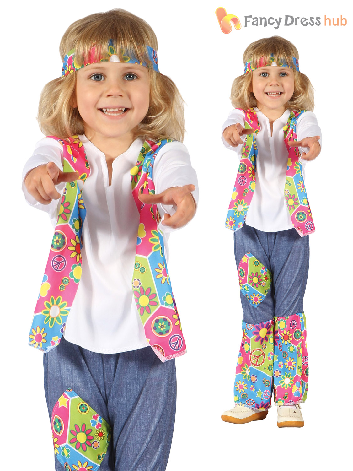 Toddler-Hippy-Costume-Boys-Girls-1960-039-s-  sc 1 st  eBay & Toddler Hippy Costume Boys Girls 1960u0027s Fancy Dress Hippie Outfit ...