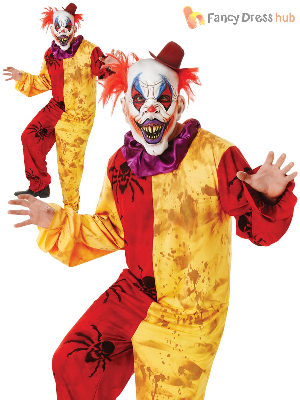 mens scary clown costume mask halloween evil sinister circus adult fancy dress ebay. Black Bedroom Furniture Sets. Home Design Ideas