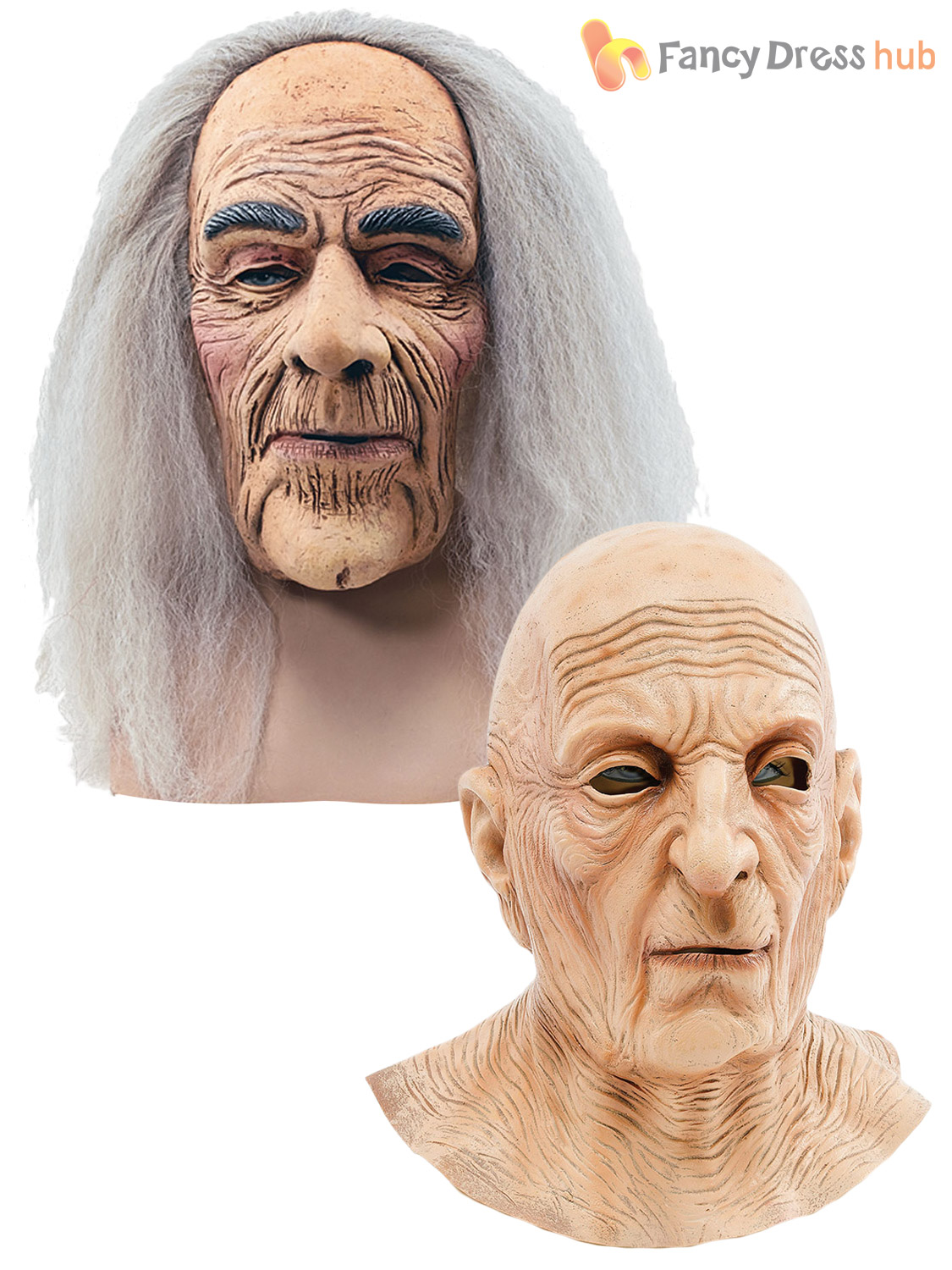 Adult Mens Grumpy Old Man Mask Wrinkled Realistic Fancy Dress ...