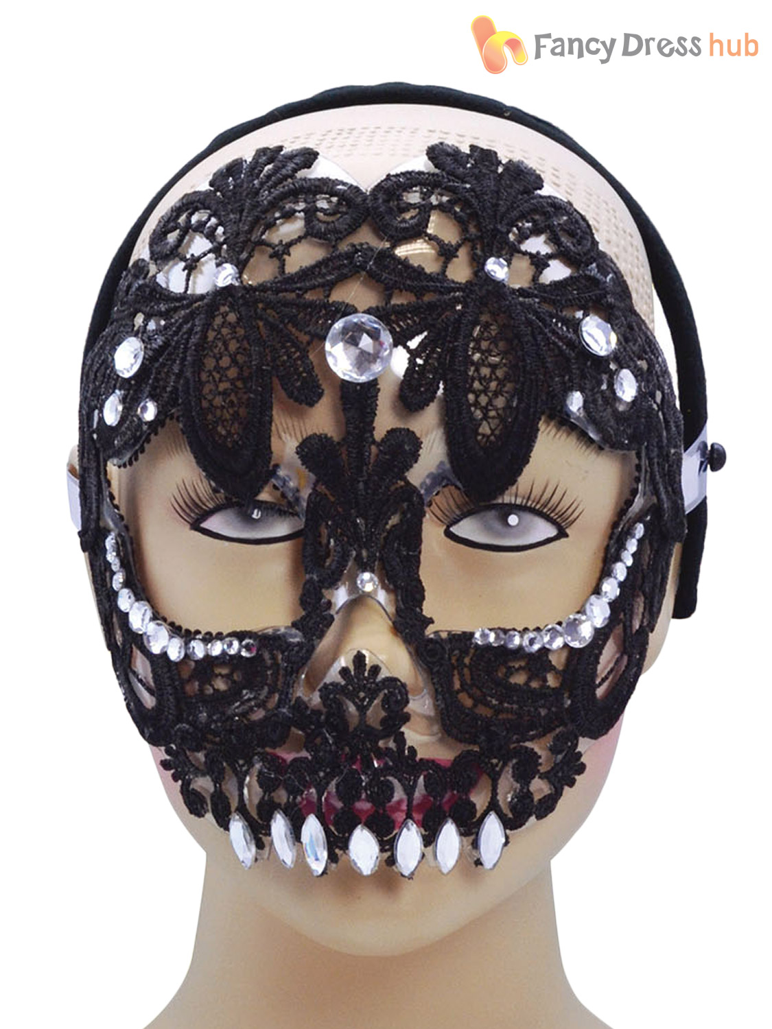 sugar skull day of the dead lace mask