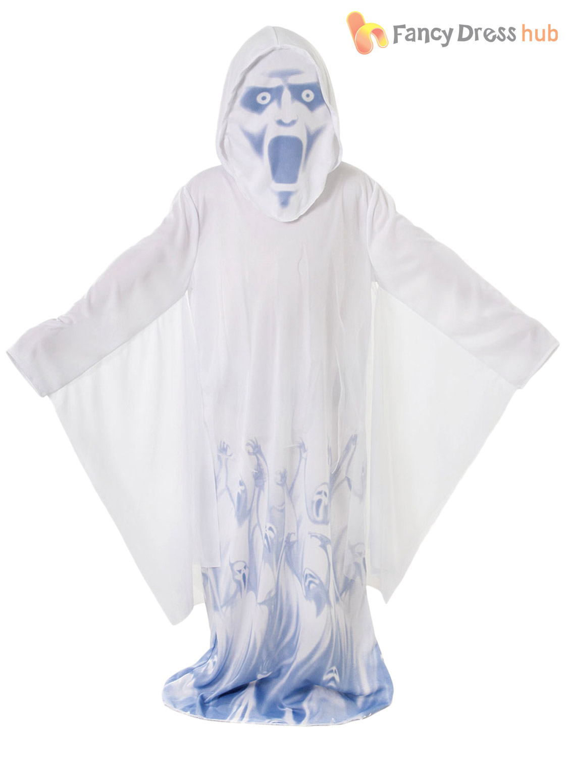 Age 5-10 Kids Ghost Ghoul Halloween Fancy Dress Party Costume ...