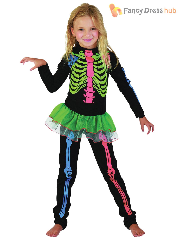 Boys Girls Multi Coloured Skeleton Jumpsuit Kids Fancy Dress Costume Halloween