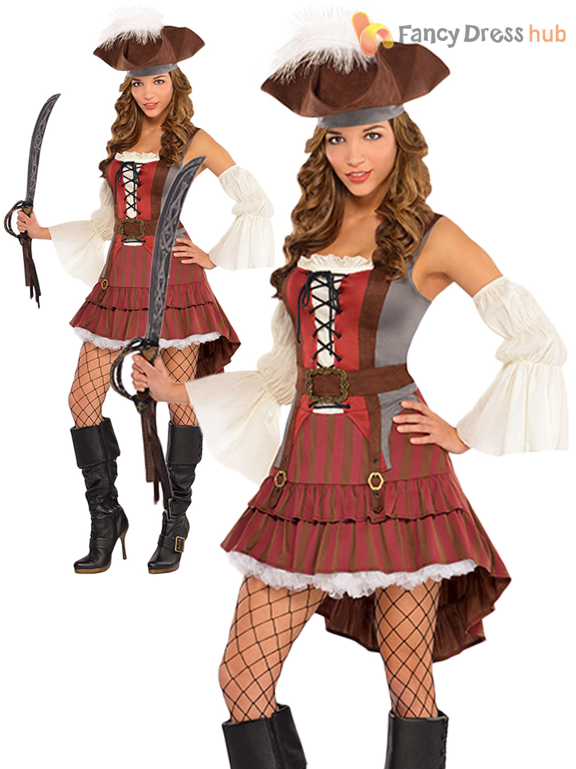 Deluxe Ladies Pirate Costume + Hat Sexy Pirate Lady Womens